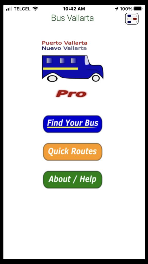 BusVallarta iphone main screen