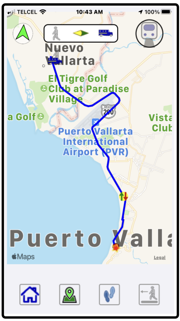 The route/directions screen